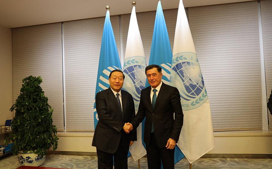 上合组织秘书长弗拉基米尔·诺罗夫与全球能源互联网发展合作组织主席刘振亚举行会晤